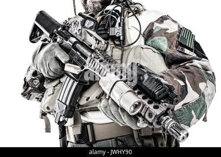 Special forces United States in Camouflage Uniforms studio shot. Holding weapons. Studio shot isolated, cropped - Stock Photo