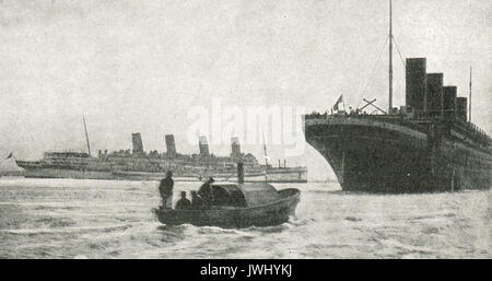 Ocean liners  Aquitania & Olympic (Titanic's sister ship) on war service, WW1 - Stock Photo