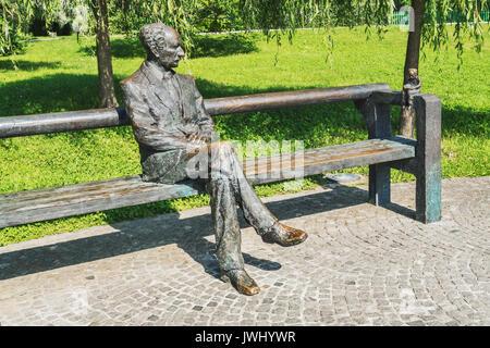 The statue of Edvard Kocbek is located in Tivoli Park, Ljubljana, Slovenia, Europe - Stock Photo