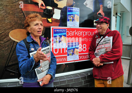Left Wing Political Activists Sheffield City Centre Yorkshire England UK - Stock Photo