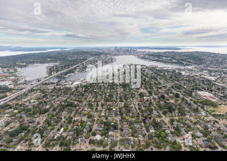 aerial view from Wallingford of Lake Union and downtown Seattle, Washington State, USA - Stock Photo
