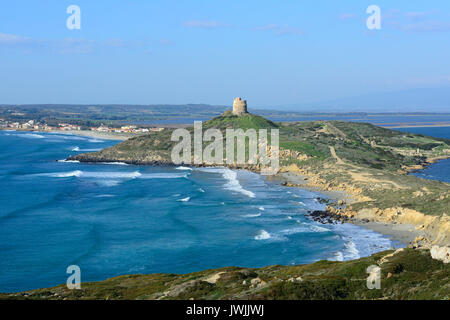Panoramic view from Capo San Marco to San Giovanni di Sinis, Sinis, Sardinia, Italy - Stock Photo