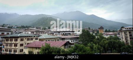 Thimphu, Bhutan - Aug 29, 2015. Mountain town in Thimphu, Bhutan. In South Asia, Bhutan ranks first in economic - Stock Photo