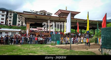 Thimphu, Bhutan - Aug 29, 2015. People at business center in Thimphu, Bhutan. In South Asia, Bhutan ranks first - Stock Photo
