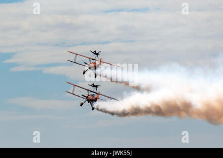 Blackpool Air Show Standard Stearmans have a 220 horsepower engine. The 'Super Stearmans' of the Breitling Wingwalking - Stock Photo
