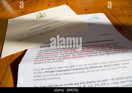 Waltham Forest Application for British citizen letter for Citizenship ceremony and invitations - Stock Photo