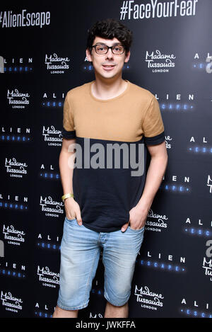 Celebrities attend the launch of  Alien Escape at Madame Tussauds London  Featuring: Matt Richardson Where: London, - Stock Photo