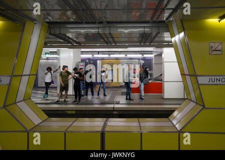 Jungfernstieg U-Bahn (underground railway) interchange station in Hamburg, Germany - Stock Photo