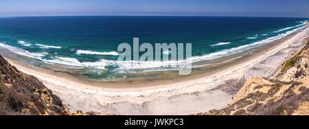 Panoramic Landscape View of Torrey Pines State Beach and Pacific Ocean north of La Jolla Shores from UCSD Gliderport, - Stock Photo