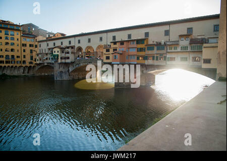 Arno River and Ponte Vecchio in Historic Centre of Florence listed World Heritage by UNESCO in Florence, Tuscany, - Stock Photo