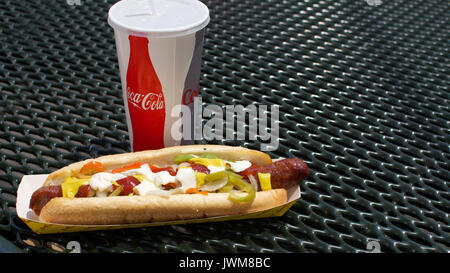 fcf63bd2ebee Closeup on Hot-dog county fair food and diet coca-cola in disposable paper