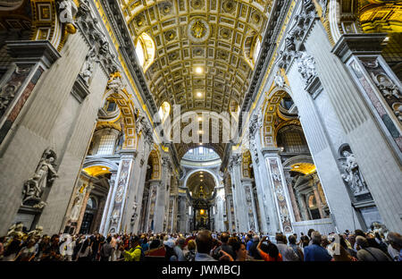 Interior of St Peters Basilica in Vatican City, Rome Italy - Stock Photo
