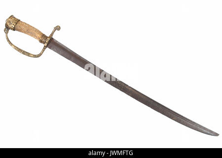 A brass and horn hilted antique English hunting hanger short sword isolated on white backgound - Stock Photo