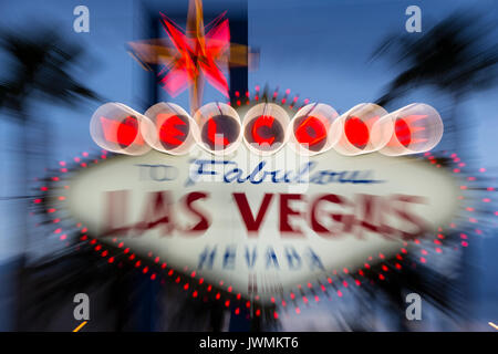 The iconic 'Welcome to Fabulous Las Vegas' neon sign greets visitors to Las Vegas traveling north on the Las Vegas strip. Stock Photo