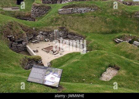 skara brae on the island of orkney scotland - Stock Photo