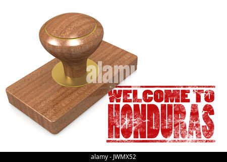 Red rubber stamp with welcome to Honduras, 3D rendering - Stock Photo