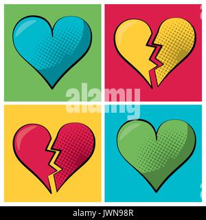multicolored square banner in pop art style and set heart and broken heart - Stock Photo