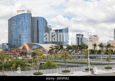 NanNing, China - August 10, 2017: Panoramic view of the skyline of Nanning, the capital of GuangXi province in China - Stock Photo