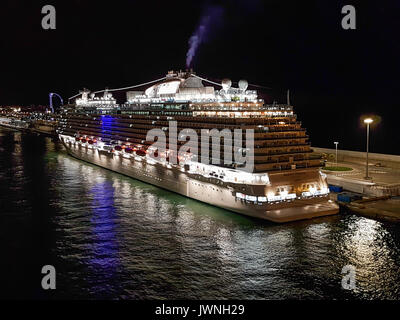 Majestic Princess, Princess Cruises - Barcelona, Spain - 14 May, 2017: Early morning view of Majestic Princess ship - Stock Photo