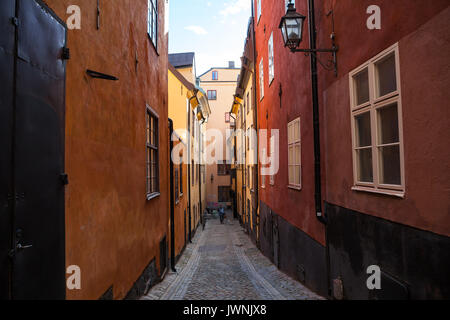 View of old town street in Stockholm at sunny day, Sweden - Stock Photo