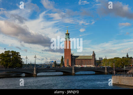 Gamlastan and Town Hall. Stockholm Old Town, Sweden - Stock Photo