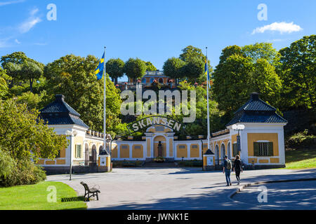 STOCKHOLM, SWEDEN - SEPTEMBER 17, 2016: Entrance to the ethnographic complex the open air museum Skansen, located - Stock Photo