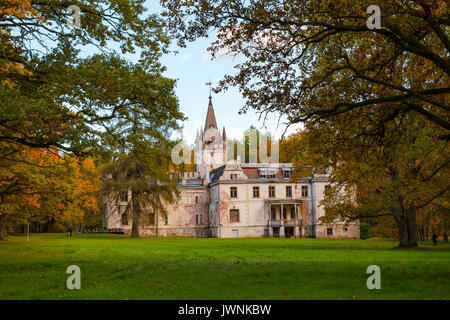 VECSTAMERIENA, LATVIA - OCTOBER 20, 2016: Old fairy-tale palace. Fall time, bright colors. - Stock Photo