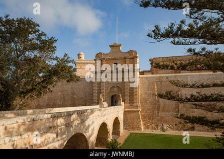 Mdina city gates. Old fortress. Malta. Sunny summer day. - Stock Photo