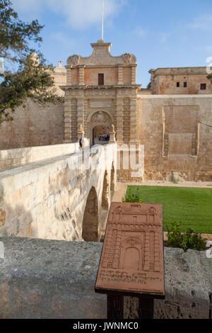 MDINA, MALTA - AUGUST, 30, 2016: Main city gates. Old fortress. Sunny summer day. - Stock Photo