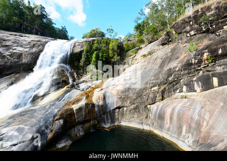 View of Unesco World Heritage listed Murray Falls, Girramay National Park, Far North Queensland, FNQ, QLD, Australia - Stock Photo
