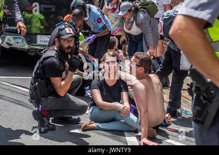 Charlottesville, United States. 12th Aug, 2017. On Saturday, August 12, 2017, a veritable who's who of white supremacist - Stock Photo