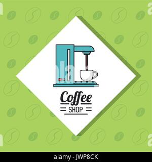 colorful poster of coffee shop with coffee maker in white rhombus and green background - Stock Photo
