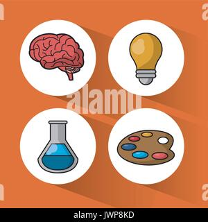 orange background with colorful spheres with icons of brain and light bulb and test tube and palette with paints - Stock Photo