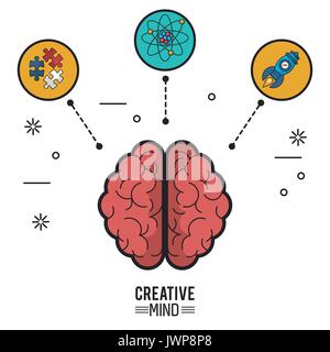 colorful poster of creative mind with the brain top view of its two hemispheres and icons of puzzle pieces and atom - Stock Photo