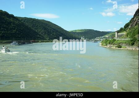 The River Rhine near the Loreley rocks, Germany - Stock Photo
