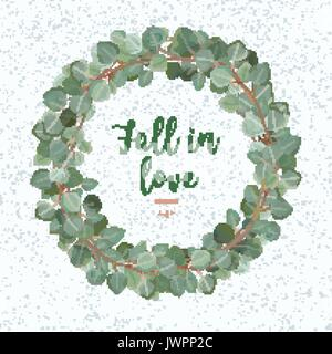 Eucalyptus Leaves vector round green leaf wreath branch foliage card design. Winter beautiful lovely elegant watercolor - Stock Photo