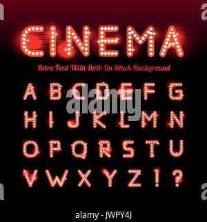 Retro cinema font. Vector illustration on black background. Can be used for christmas, happy new year, happy birthday - Stock Photo