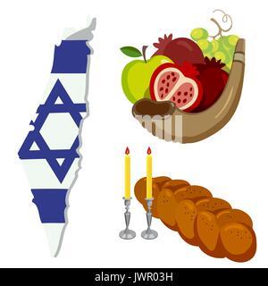 Rosh Hashanah, Shana Tova flat vector icons set. - Stock Photo