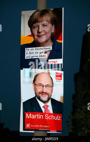 AUGUST 12, 2017 - BERLIN: election posters of the German Chancellor Angela Merkel (CDU) and her challenger, Martin - Stock Photo