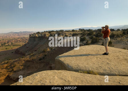 Caucasian Male Castle Valley Utah USA - Stock Photo