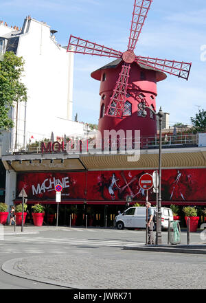 Paris, France, Le Moulin Rouge, cabaret opened in 1889 and still running, though more of a tourist attraction today, - Stock Photo