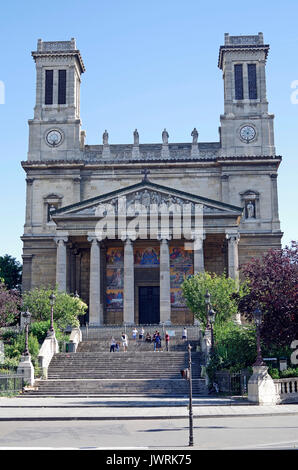 The church of St Vincent-de-Paul, Paris, France, in Greek Neo-classical style, - Stock Photo