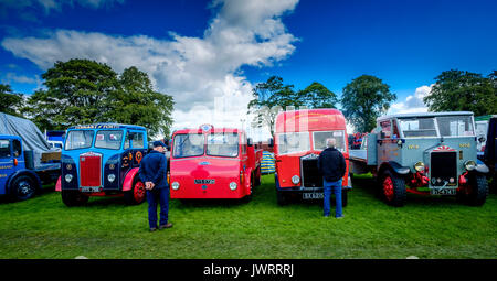 Biggar, South Lanarkshire - 44th Vintage Vehicle Rally. A general view of the show field with two males looking - Stock Photo