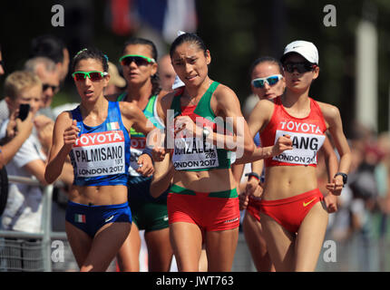 Mexico's Maria Guadalupe Gonzalez (centre right) competes in the Women's 20km Race Walk during day ten of the 2017 - Stock Photo