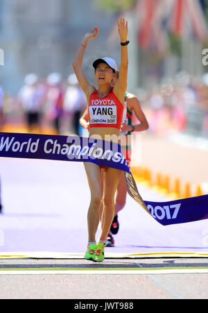 China's Jiayu Yang wins the Women's 20km Race Walk during day ten of the 2017 IAAF World Championships at the London - Stock Photo
