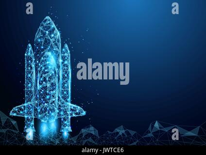 Wireframe space rocket launch sign mesh from a starry and start up concept background - Stock Photo