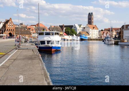 Harbour Alter Hafen with the Wassertor Gate in the background, Wismar, Mecklenburg-Vorpommern, Germany - Stock Photo