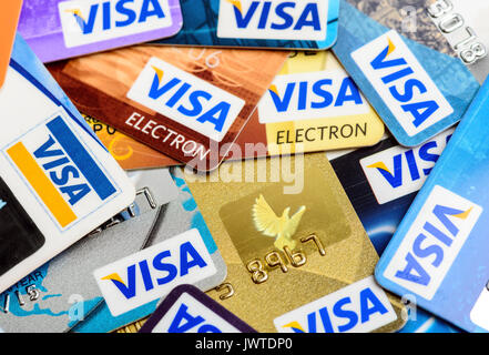 Moscowi, Russia - August 05, 2017: Many of Visa credit cards close up - Stock Photo
