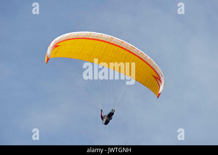 paraglider near Bruchhausen Rocks, Sauerland, Northrhine-Westfalia, Germany - Stock Photo