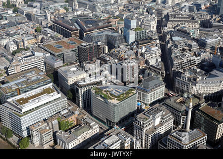aerial view of King William Street, London EC4 - Stock Photo